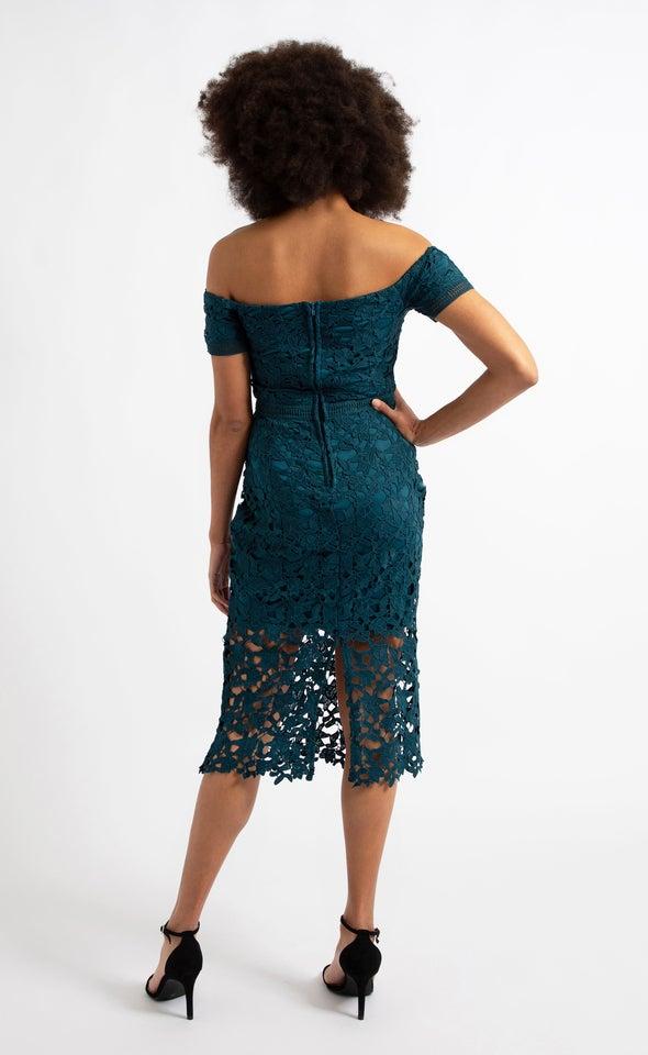 Crochet Lace Off Shoulder Dress Teal