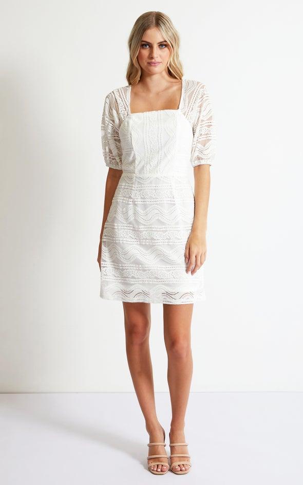 Crochet Lace Square Neck Dress Cream