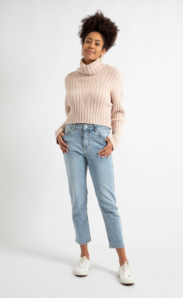 Cropped Length Straight Jeans Blue