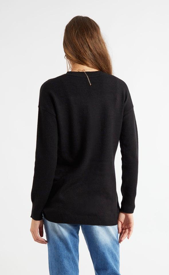 Cross Front Sweater Black