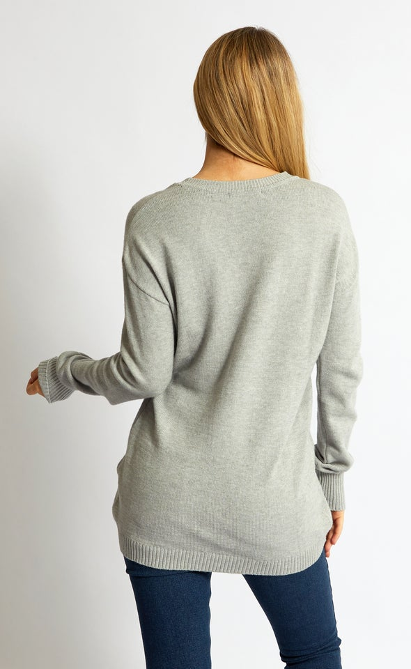 Cross Front Sweater Grey Marle