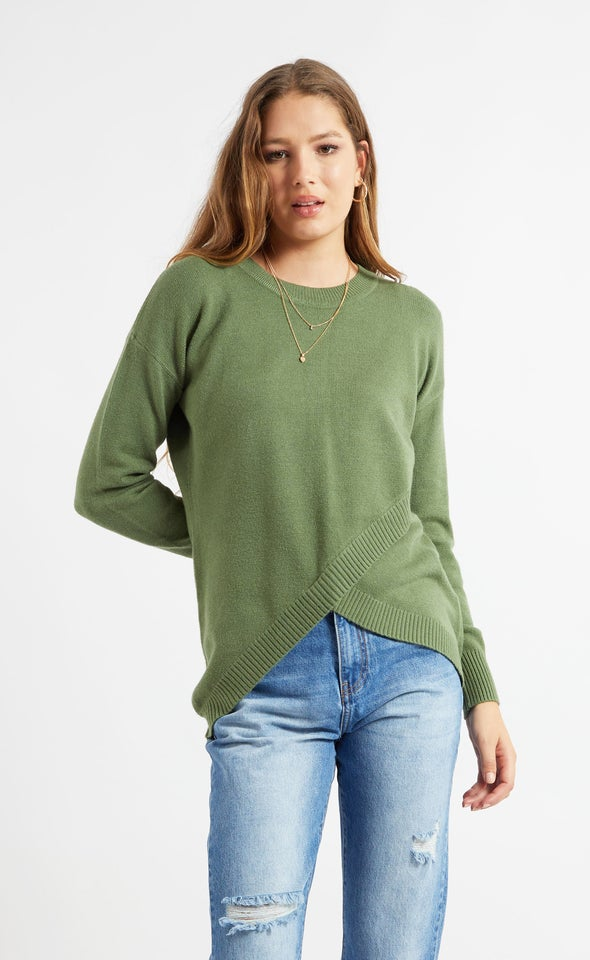 Cross Front Sweater Khaki