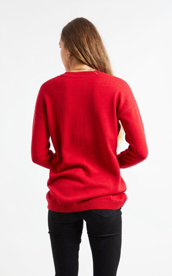 Cross Front Sweater Maroon
