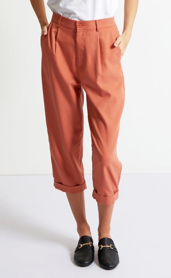 Cuffed Tailored Pants Burnt Orange