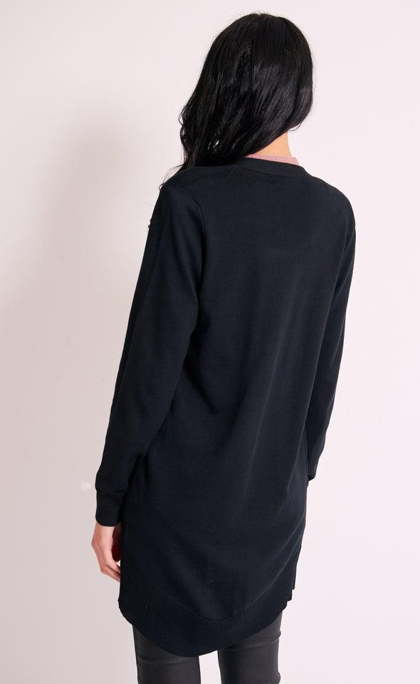 Curved Hem Knitwear Cardi Black