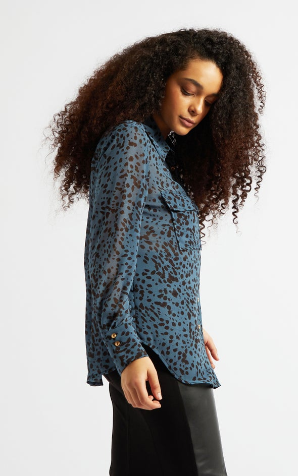 Curved Pocket Shirt Blue/black Print