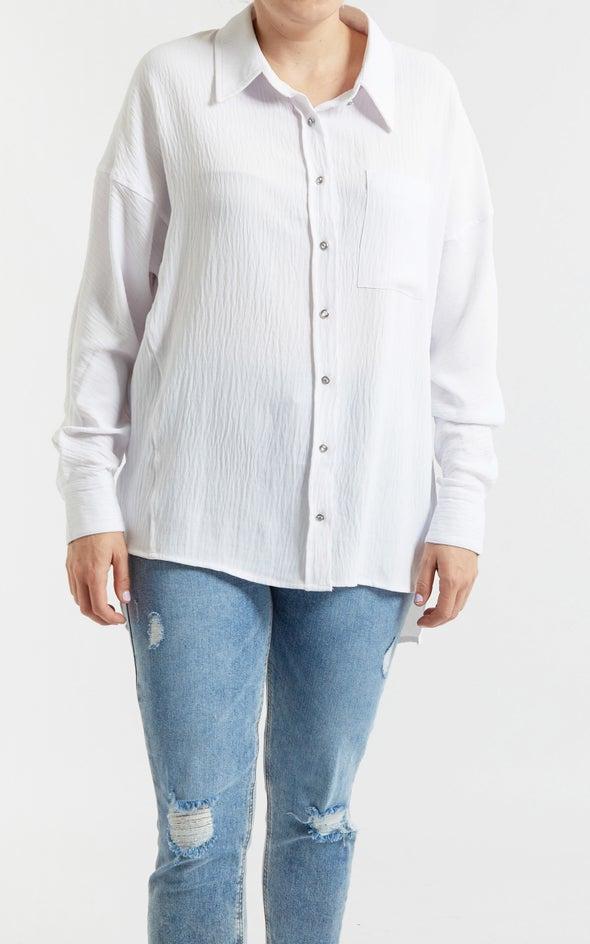 Diamante Button Shirt White