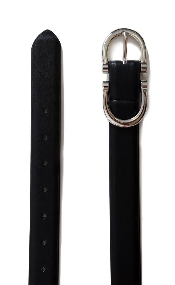 Double End Buckle Belt Silver/black