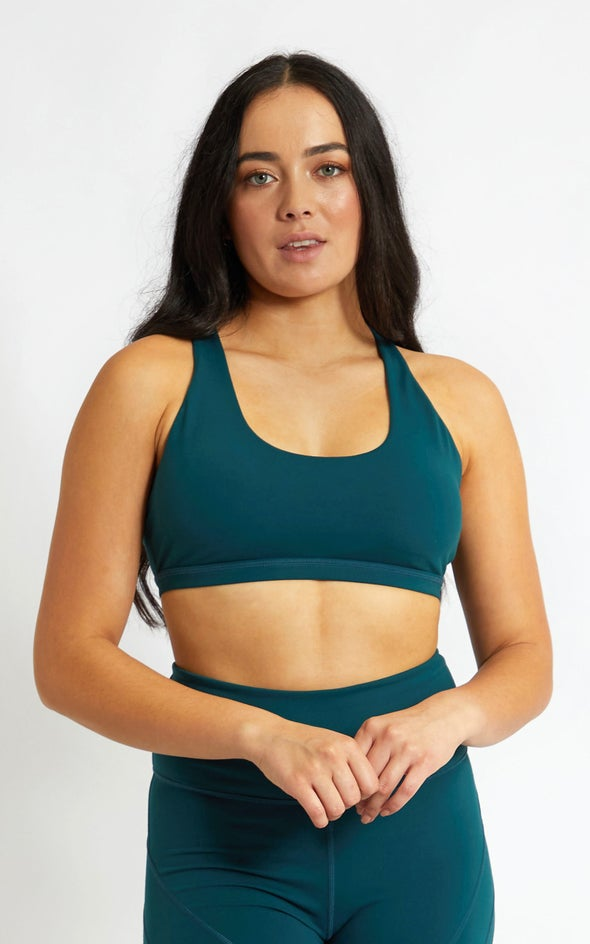 Double Strap Keyhole Back Sports Crop Forest Green