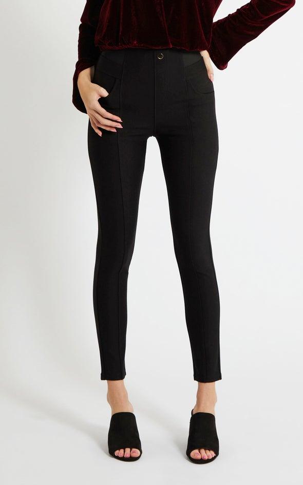 Elastic Band Ponte Pants Black