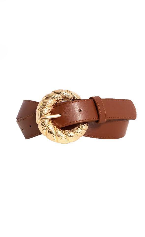 Embossed Buckle Jean Belt