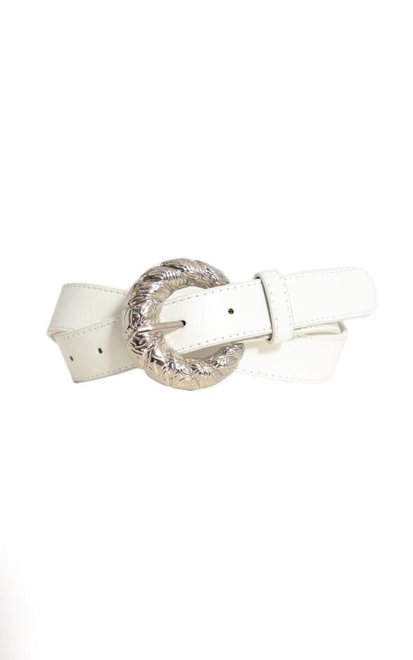 Embossed Buckle Jean Belt Silver/white