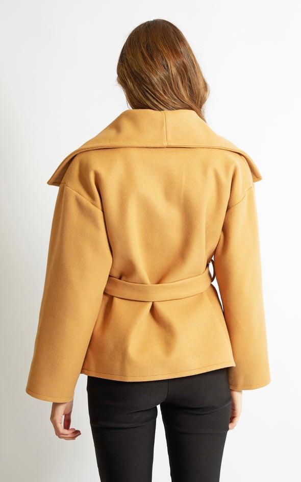 Extended Collar Short Coat Camel