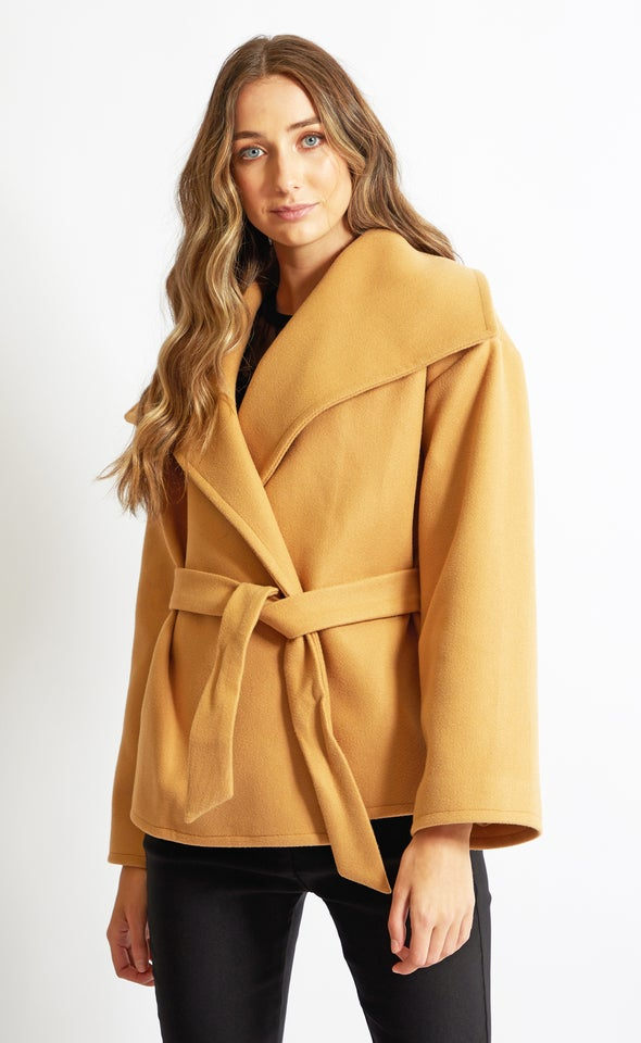 Extended Collar Short Coat