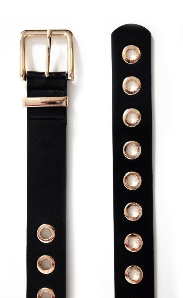 Eyelet Jean Belt Gold/black