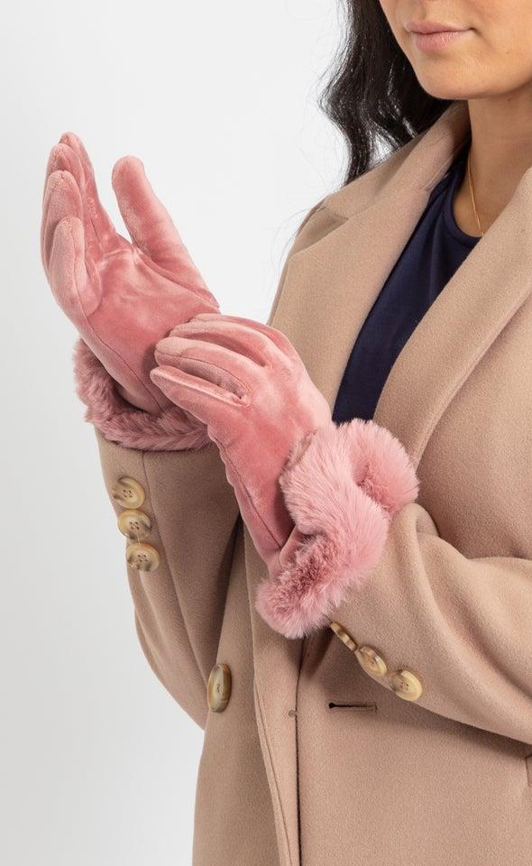 Faux Fur Cuff Gloves Berry