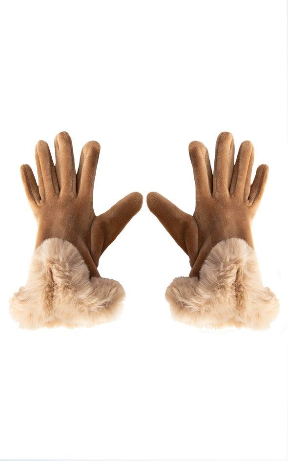 Faux Fur Cuff Gloves Camel