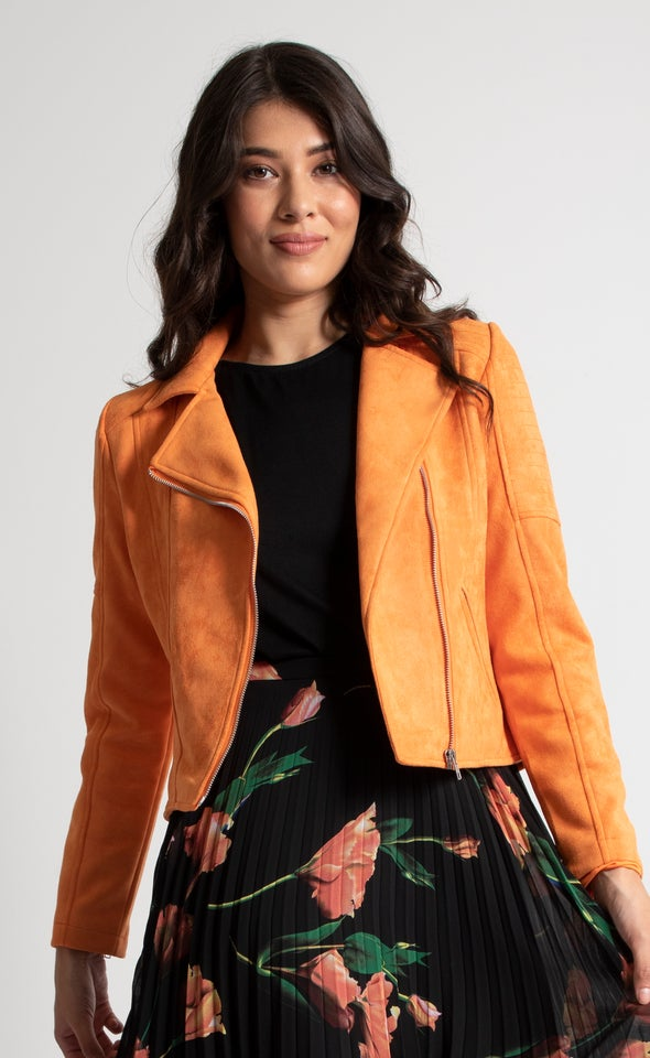 Faux Suede Quilted Biker