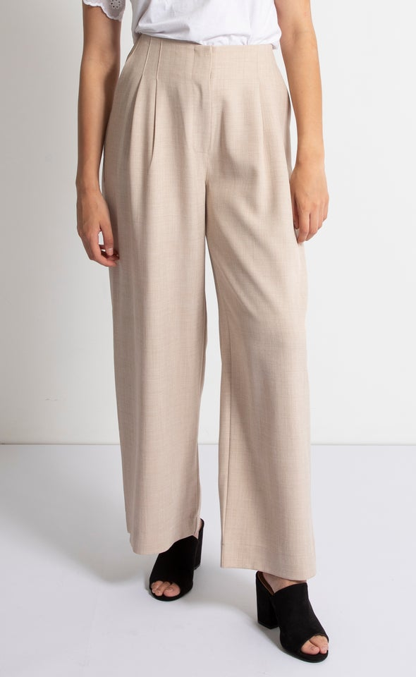 Flat Front Linen Look Pants