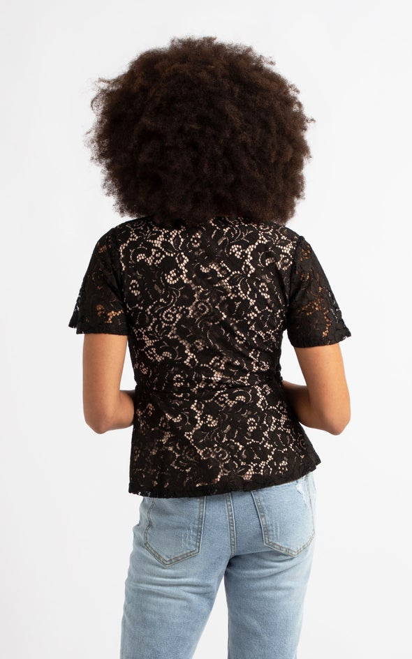 Floral Lace Peplum Hem Top Black/blush