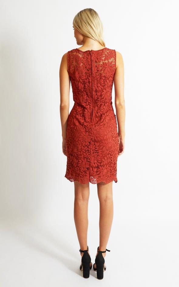 Floral Lace Shift Dress Rust