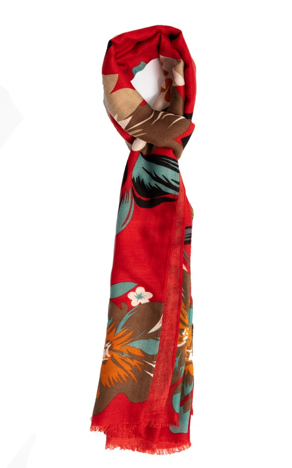 Floral Print Scarf Red