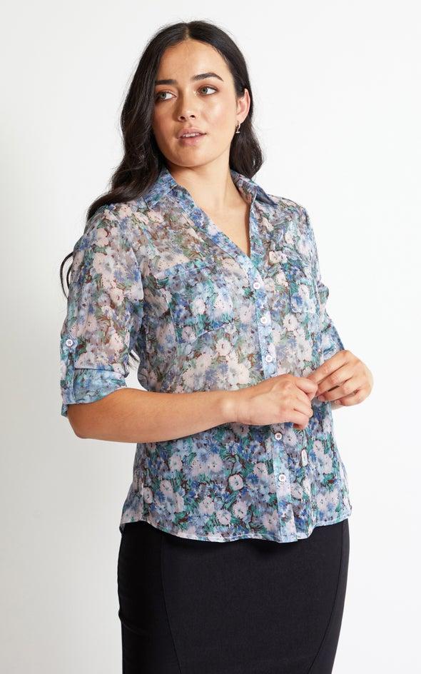 Floral Printed Shirt Blush Print