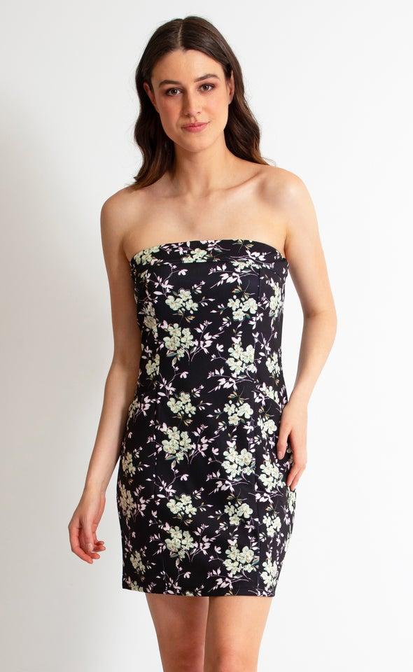 Floral Scuba Front Pocket Mini Dress Black Floral
