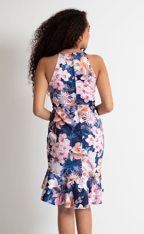 Floral Scuba Halter Dress Navy Floral