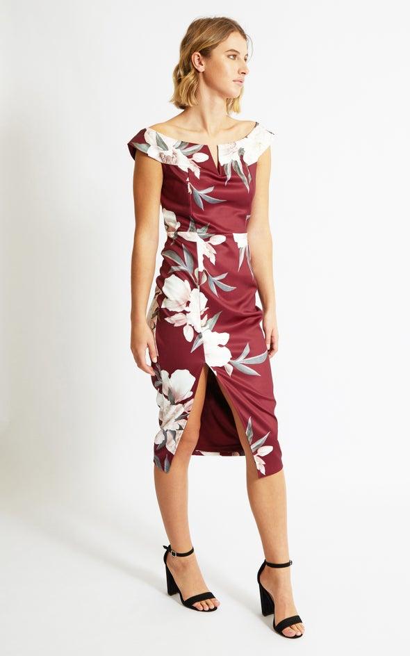 Floral Scuba Notch Neck Dress Maroon Floral