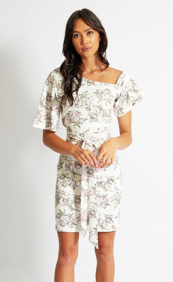 Floral Scuba Off Shoulder Dress Cream Floral