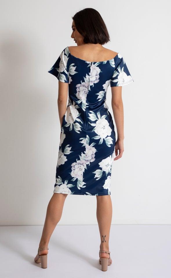 Floral Scuba Off The Shoulder Dress Navy Floral