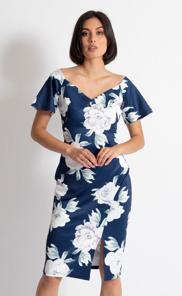 Floral Scuba Off The Shoulder Dress