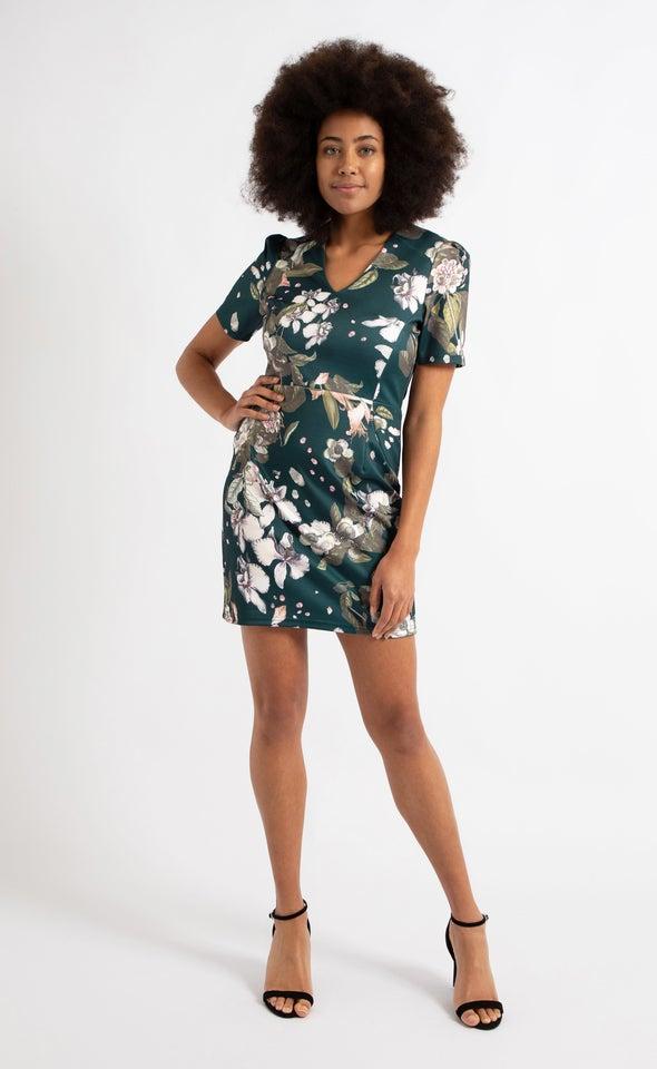 Floral Scuba Puff Sleeve Dress Emerald Floral