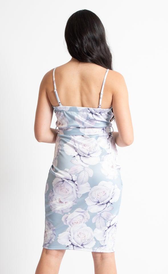 Floral Scuba Wrap Dress Sage Floral