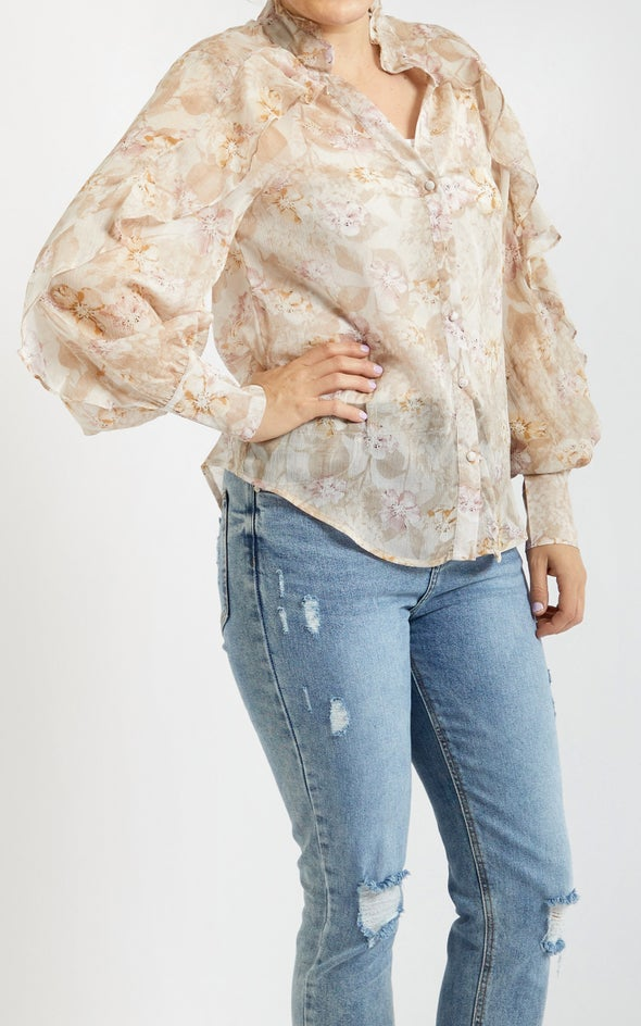 Frill Detail Printed Shirt Blush Print