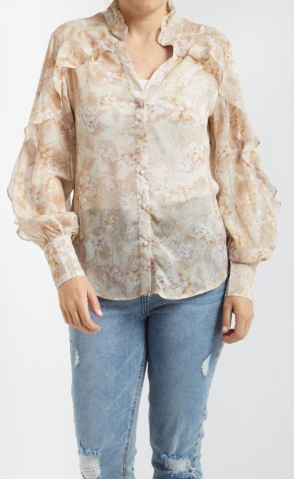 Frill Detail Printed Shirt