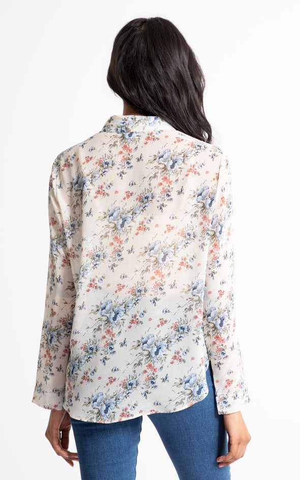 Frill Front Shirt Cream Floral