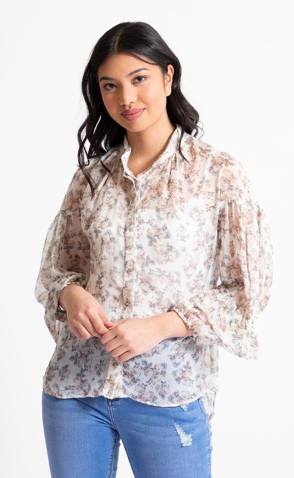 Frill Sleeve Printed Shirt