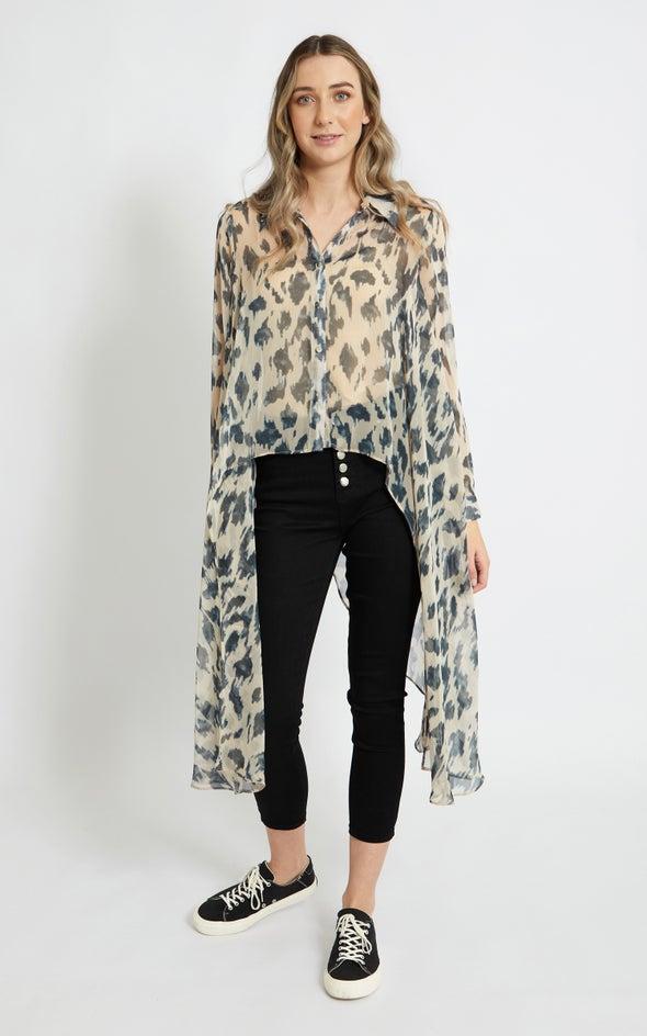 Front Curve Longline Shirt Taupe/black
