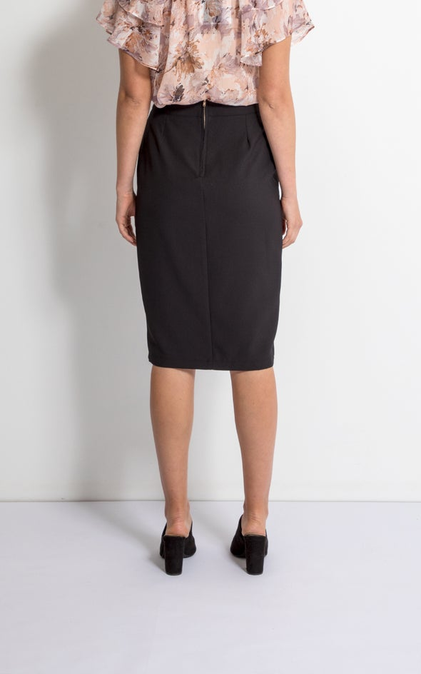 Front Split Midi Skirt Black