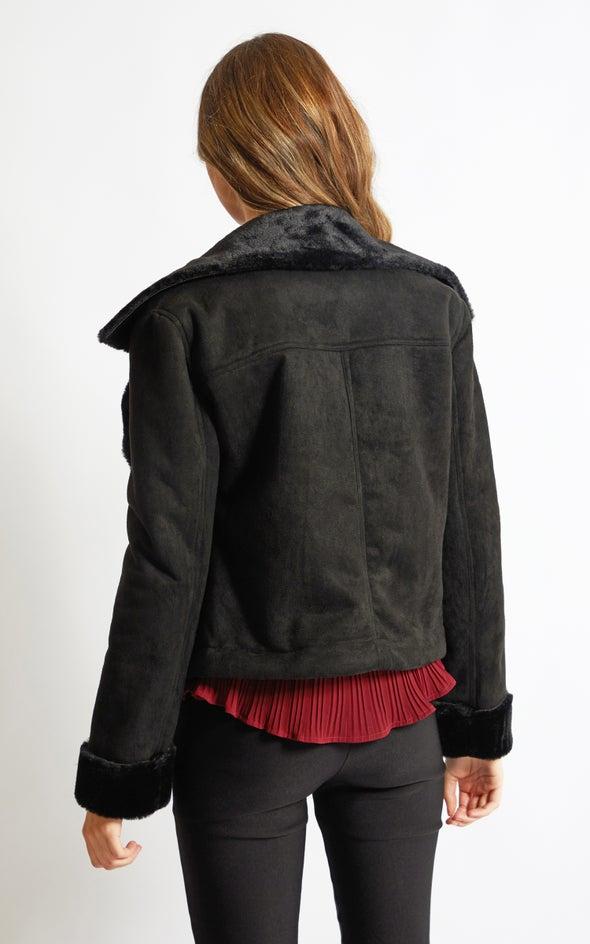 Fur Lined Biker Black