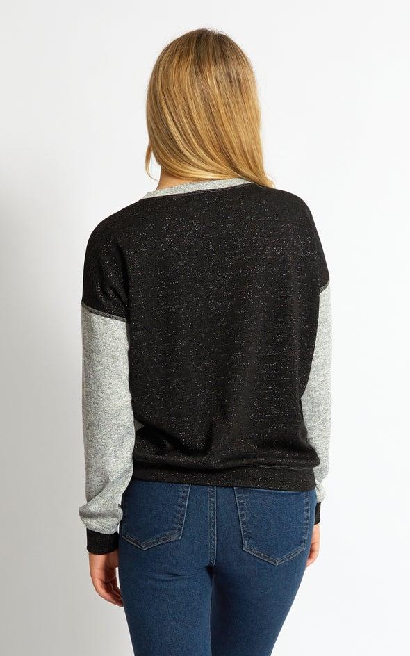 Glitter Knit Colourblock Jumper Grey/black