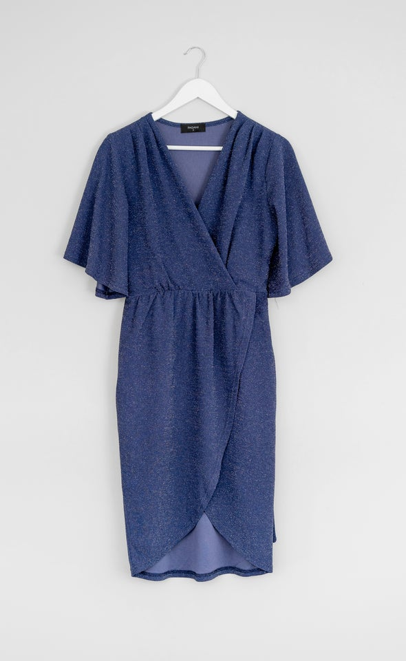 Glitter Knit Flutter Sleeve Wrap Dress Navy