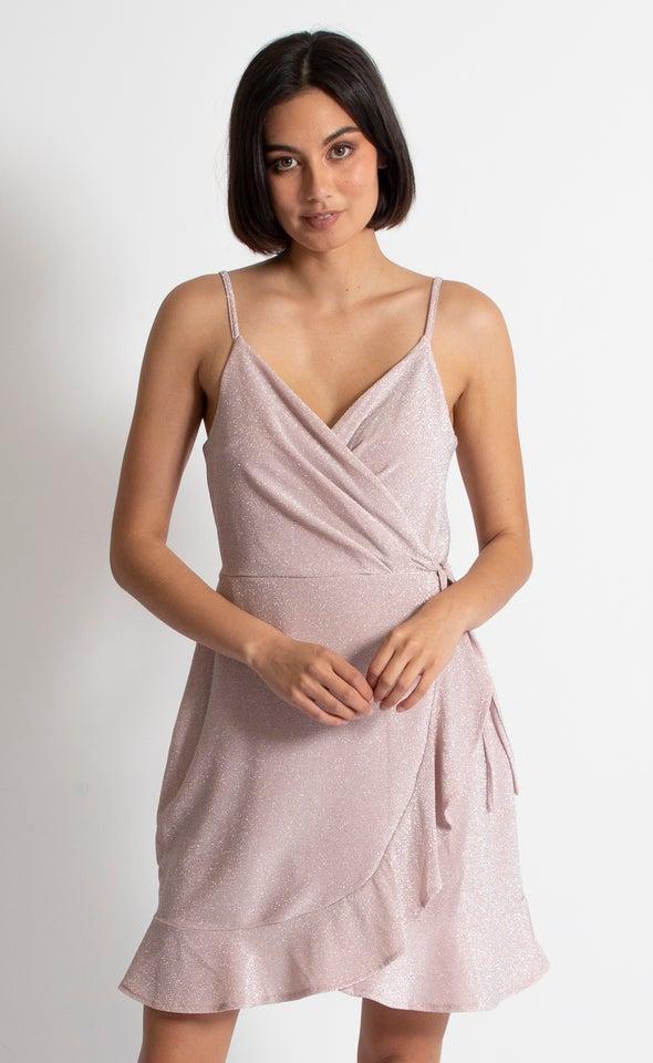 Glitter Knit Frill Hem Dress Blush