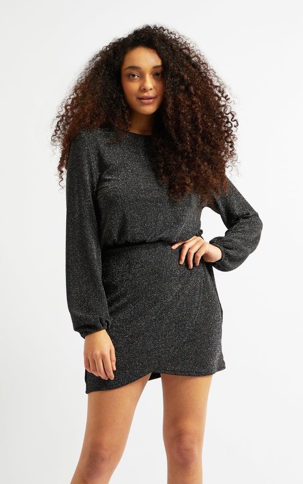 Glitter Knit LS Wrap Dress Black/silver