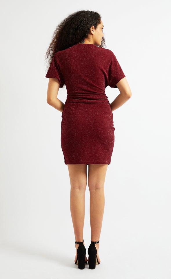 Glitter Knit Twist Detail Dress Burgundy