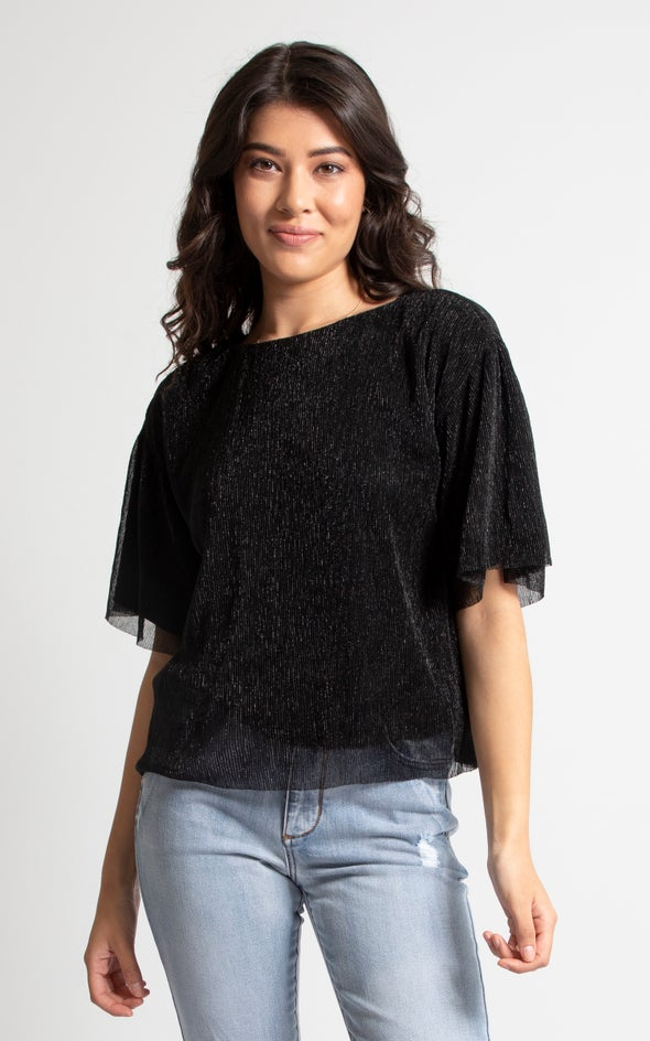 Glitter Plisse T-Shirt Black