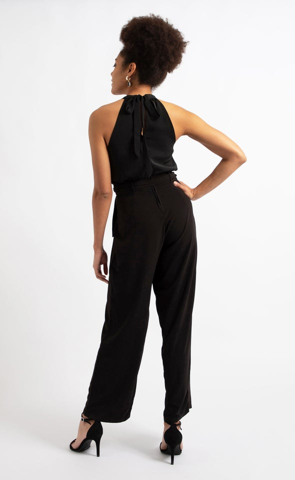 Halterneck Jumpsuit Black