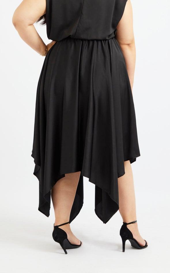 Handkerchief Hem Midi Skirt Black
